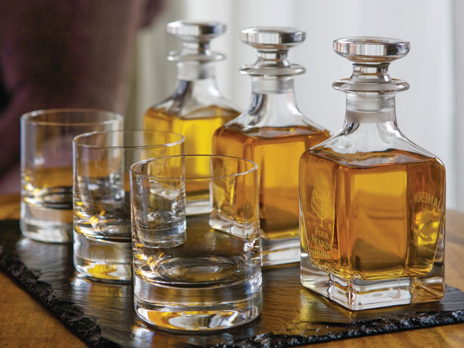 Whiskey Decanters and Rocks Glasses